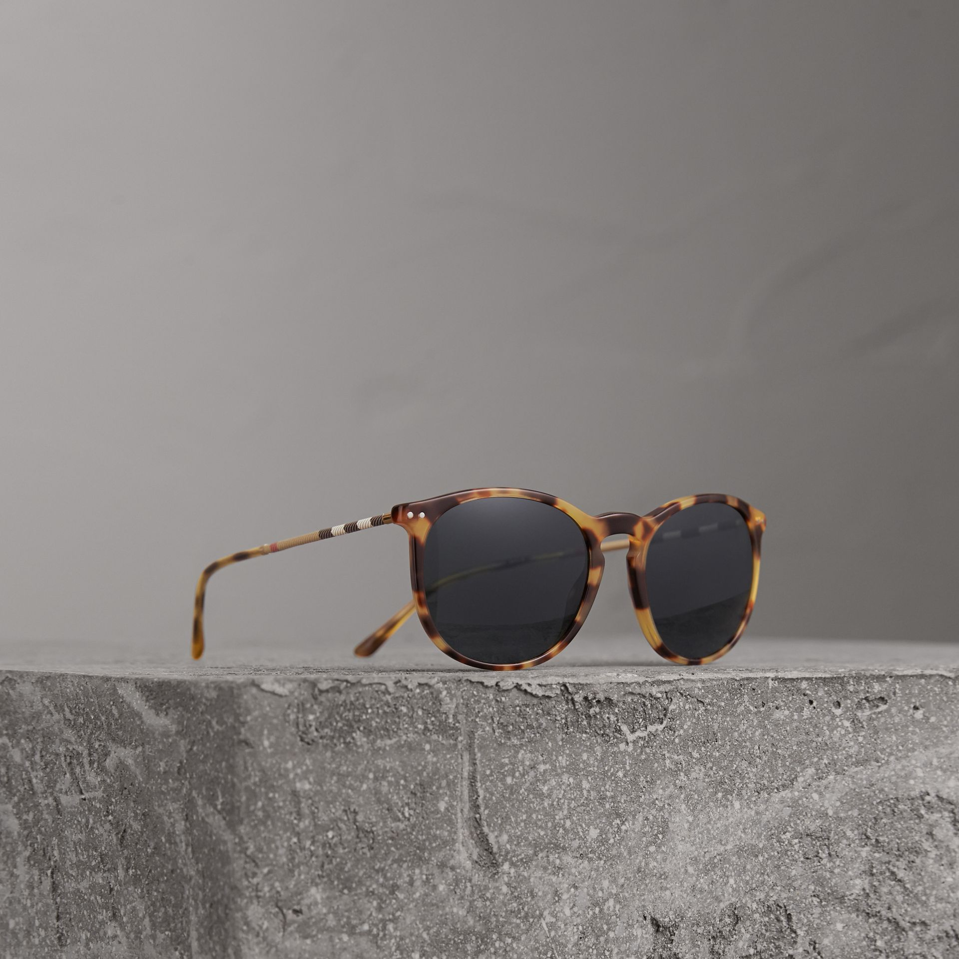Check Detail Round Frame Sunglasses in Dark Brown - Men | Burberry Australia - gallery image 0