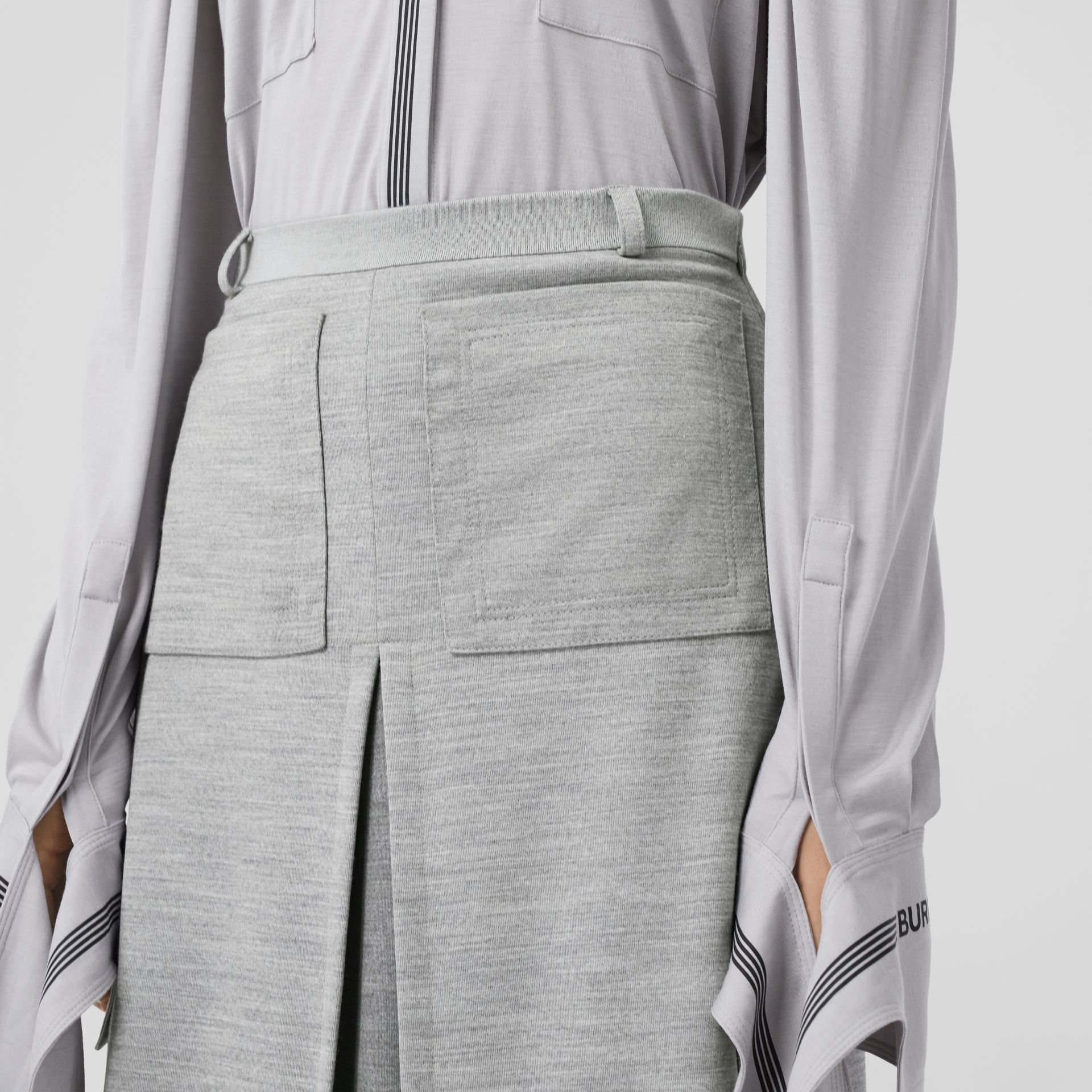 Box-pleat Detail Technical Wool Jersey A-line Skirt in Cloud Grey - Women | Burberry - gallery image 1