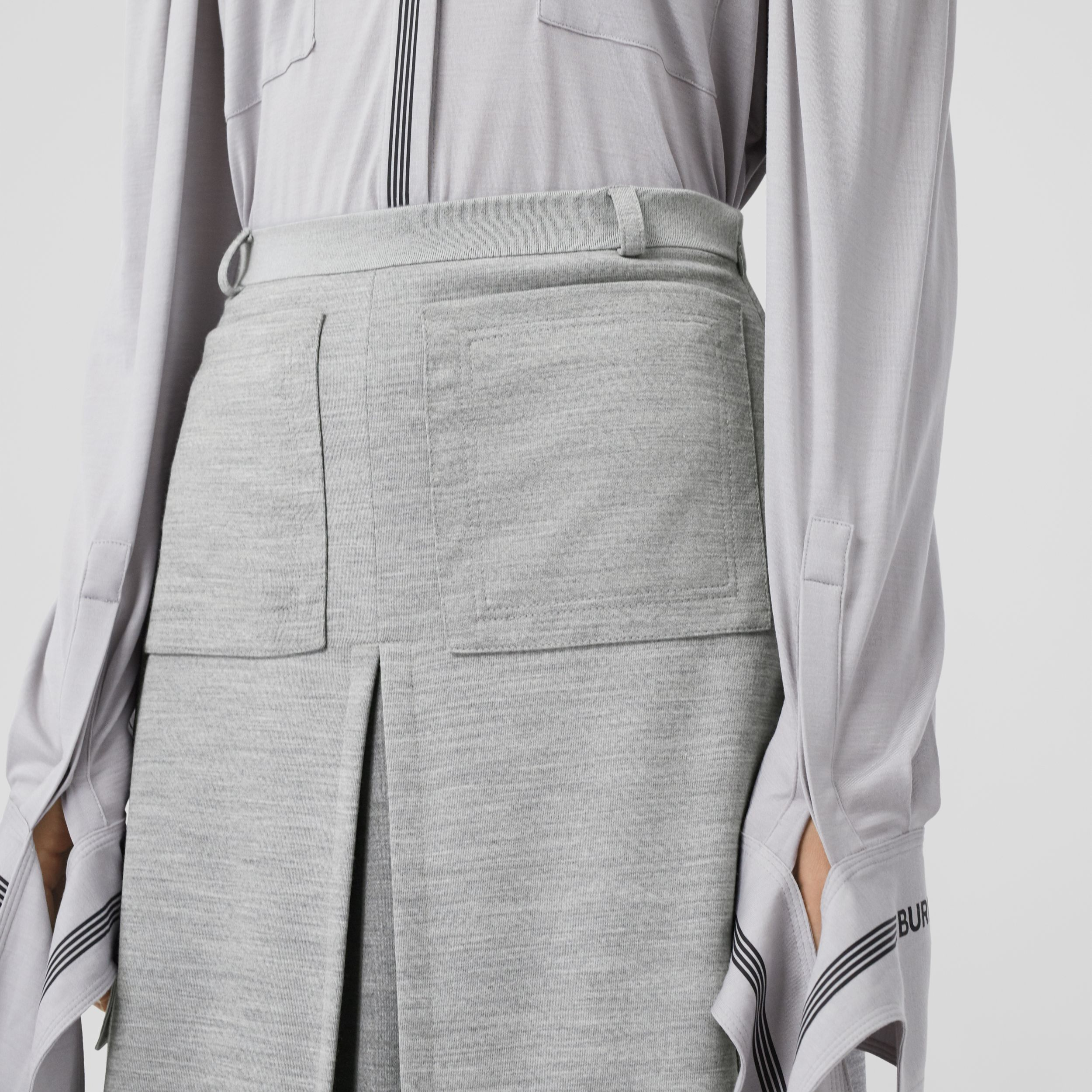 Box-pleat Detail Technical Wool Jersey A-line Skirt in Cloud Grey - Women | Burberry - 2