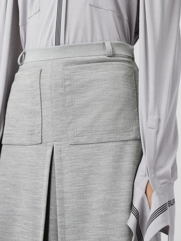 Box-pleat Detail Technical Wool Jersey A-line Skirt in Cloud Grey - Women | Burberry - cell image 1