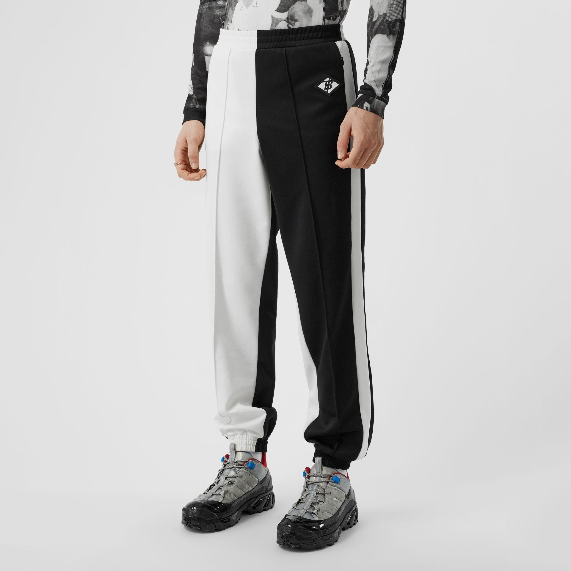 Logo Graphic Two-tone Jersey Trackpants in Black - Men | Burberry - gallery image 4
