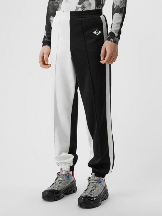 Logo Graphic Two-tone Jersey Trackpants in Black