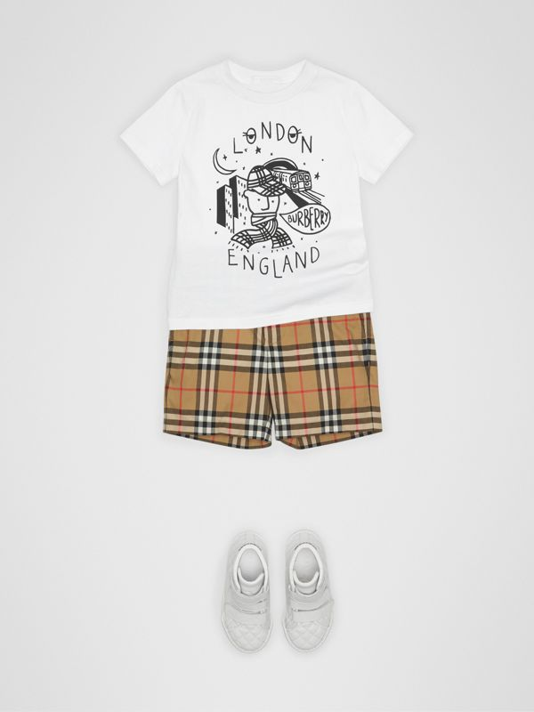 Vintage Check Cotton Tailored Shorts in Antique Yellow | Burberry - cell image 2