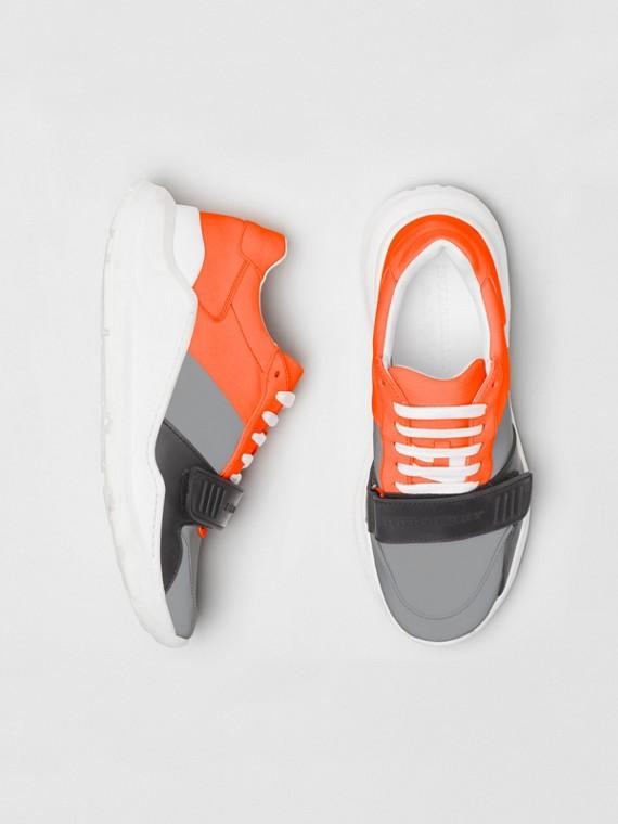 Colour Block Sneakers in Silver Grey/orange