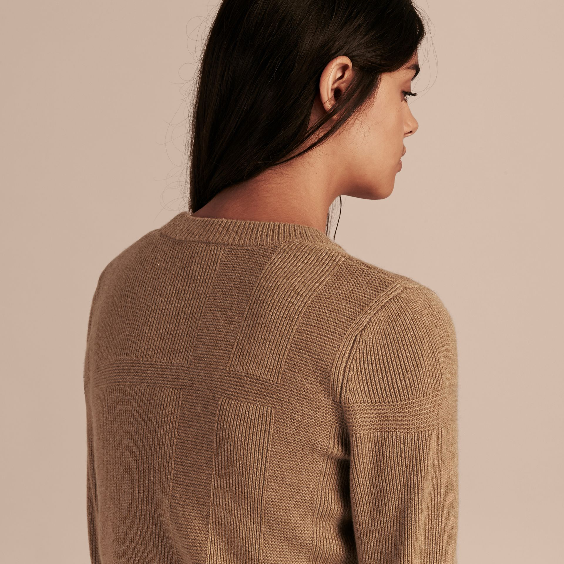 Check-knit Wool Cashmere Sweater Camel - gallery image 3