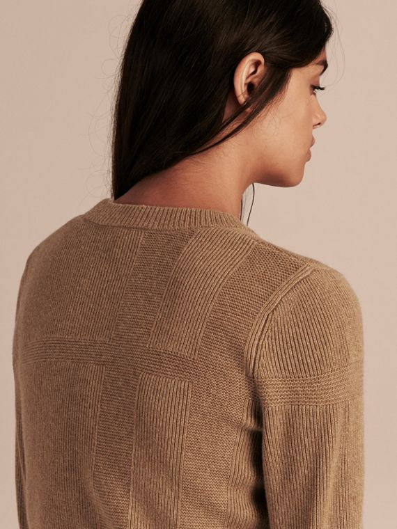 Check-knit Wool Cashmere Sweater Camel - cell image 2