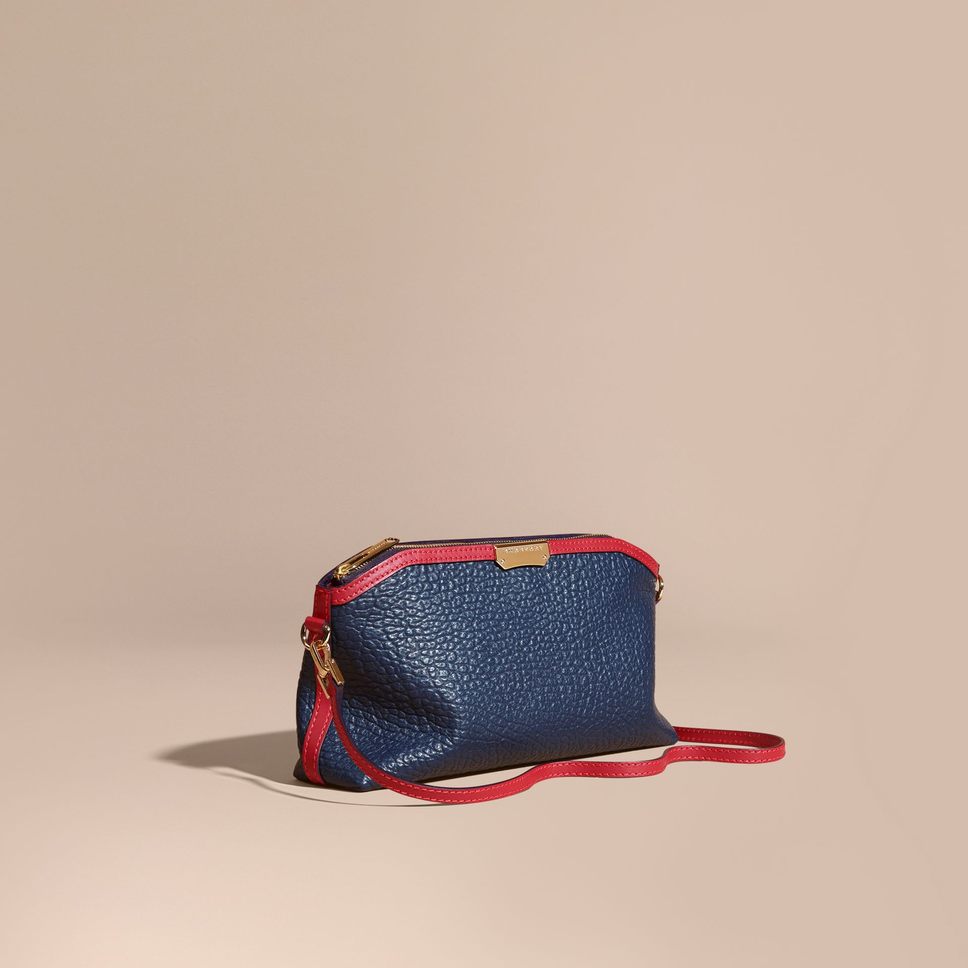 Blue carbon/parade red Small Contrast Border Grainy Leather Clutch Bag - gallery image 1