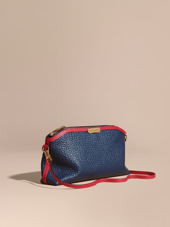 Small Contrast Border Grainy Leather Clutch Bag