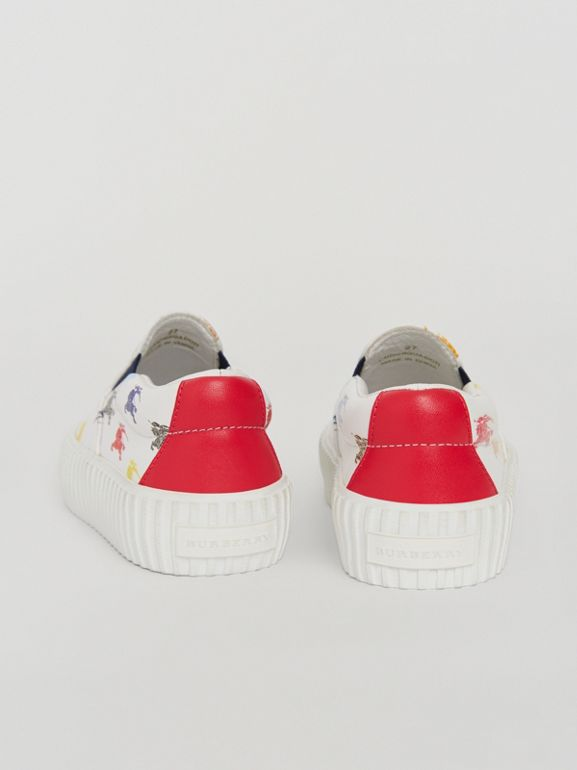 EKD Leather Slip-on Sneakers in Optic White - Children | Burberry United Kingdom - cell image 1