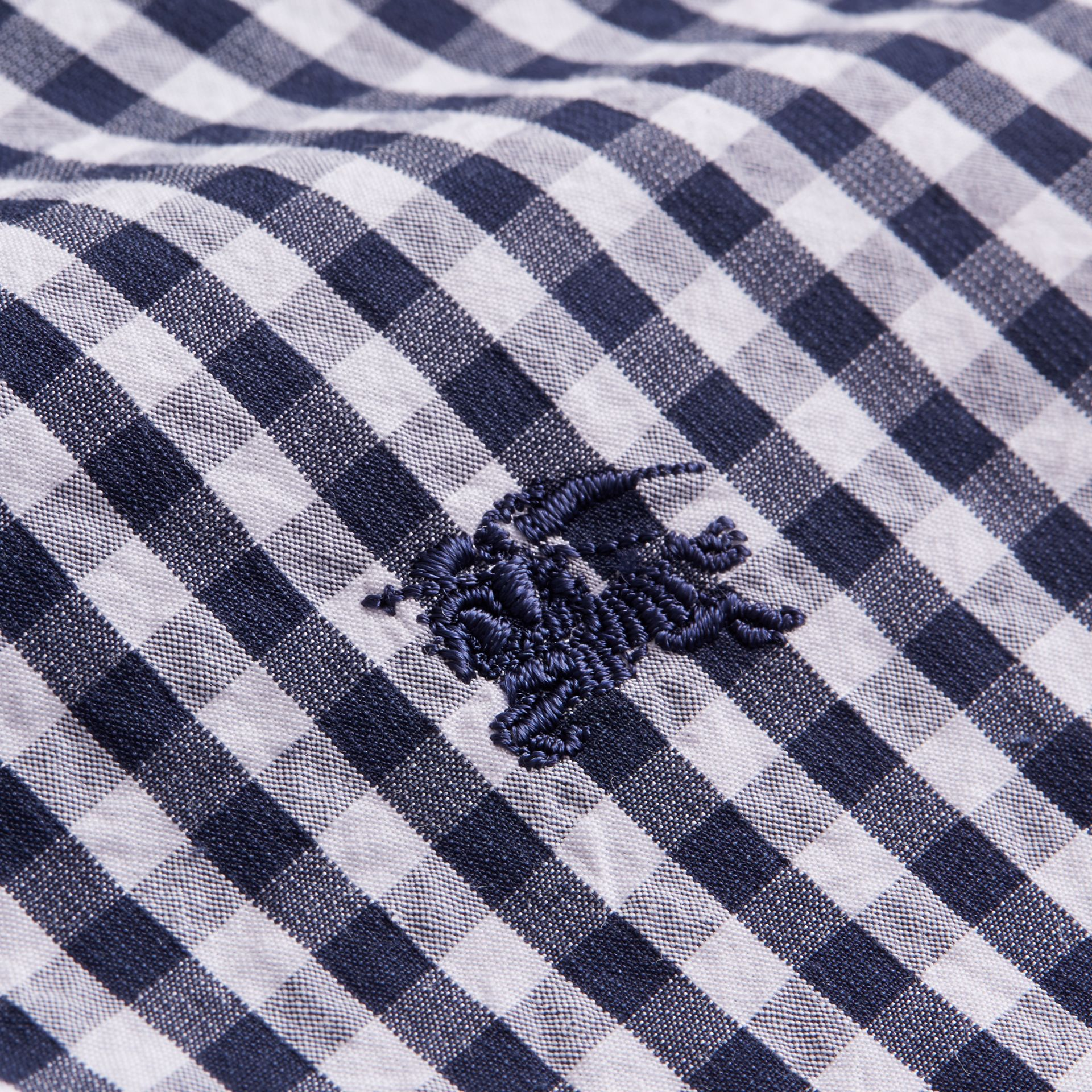 Gingham Cotton Poplin Shirt with Check Detail Ink Blue - gallery image 2