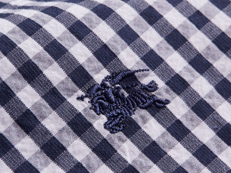 Gingham Cotton Poplin Shirt with Check Detail Ink Blue - cell image 1
