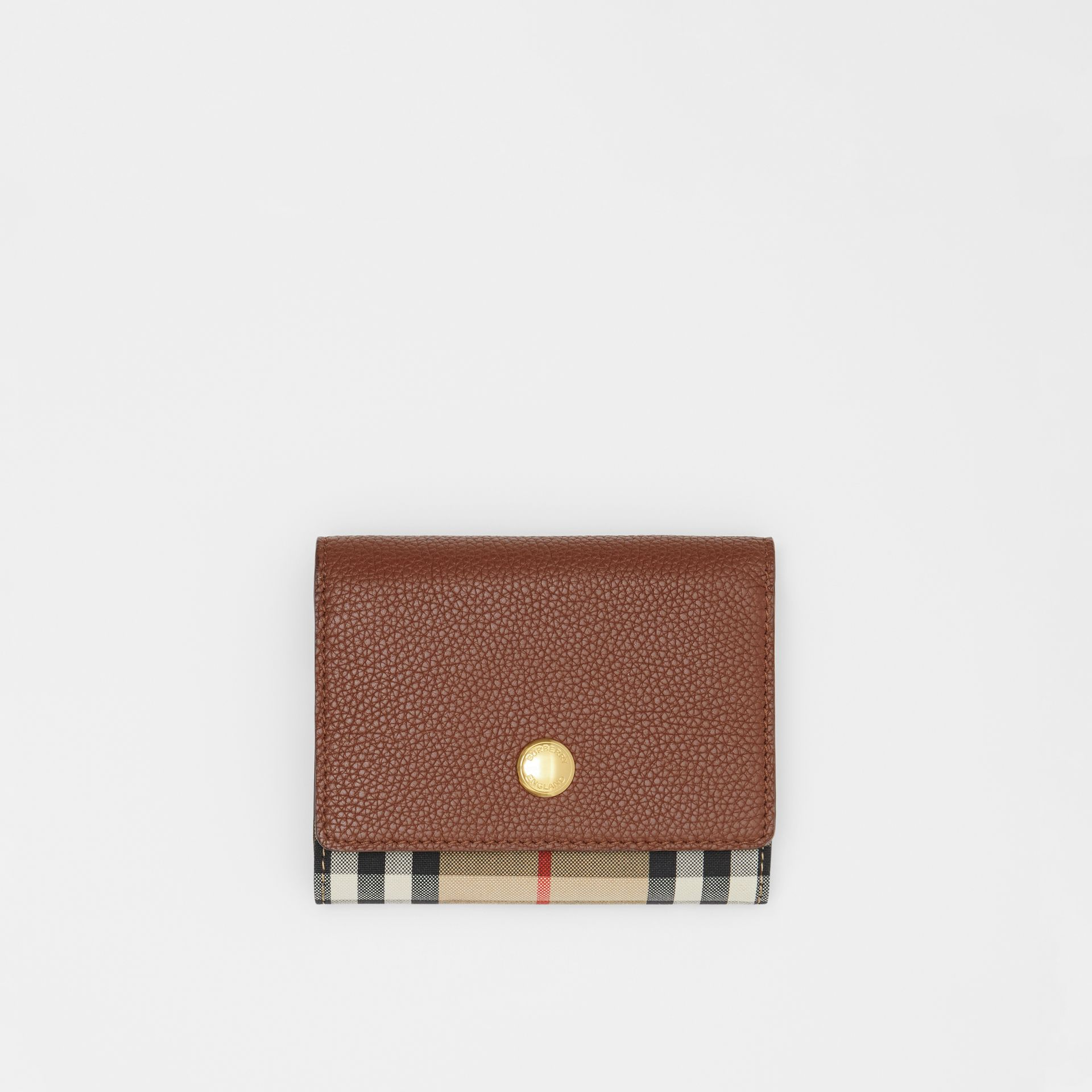 Small Vintage Check and Leather Folding Wallet in Tan - Women | Burberry - gallery image 0