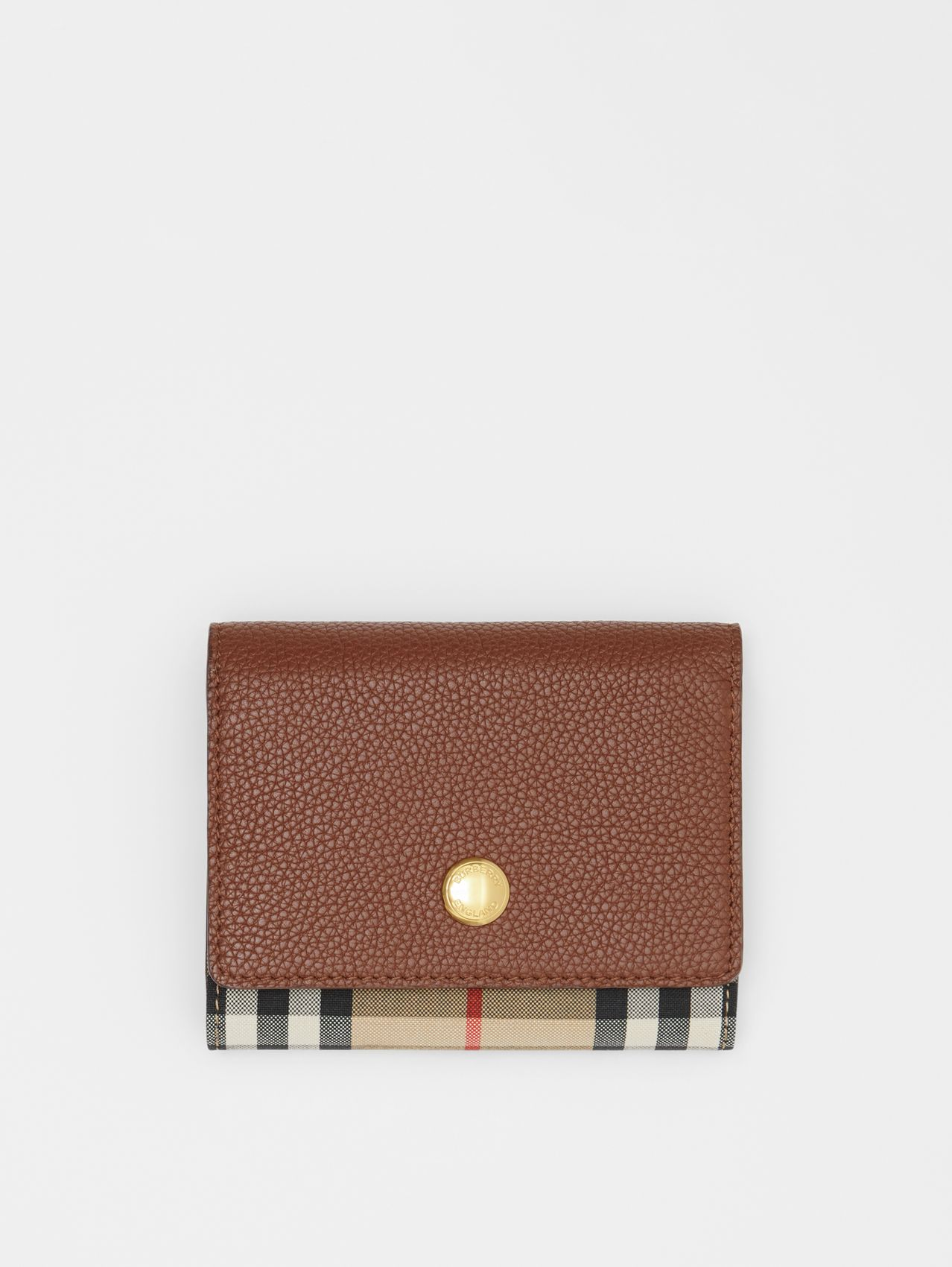 Small Vintage Check and Leather Folding Wallet in Tan