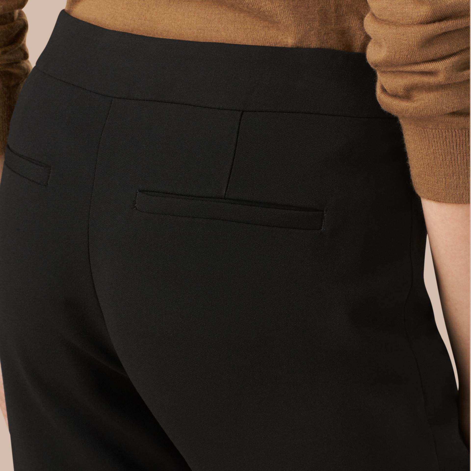 Black Slim Fit Faille Trousers - gallery image 4