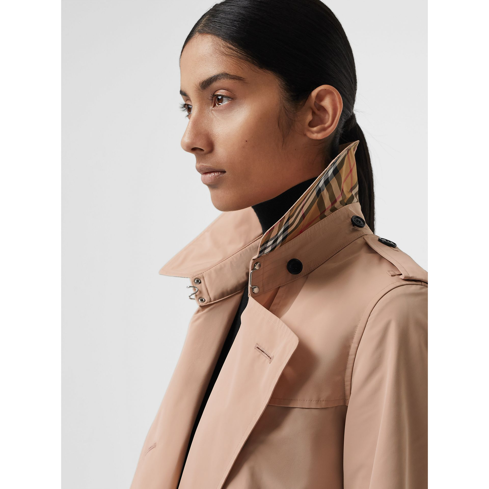 Detachable Hood Taffeta Trench Coat in Chalk Pink - Women | Burberry - gallery image 1