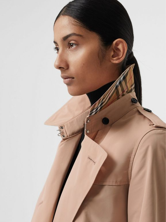 Detachable Hood Taffeta Trench Coat in Chalk Pink - Women | Burberry - cell image 1