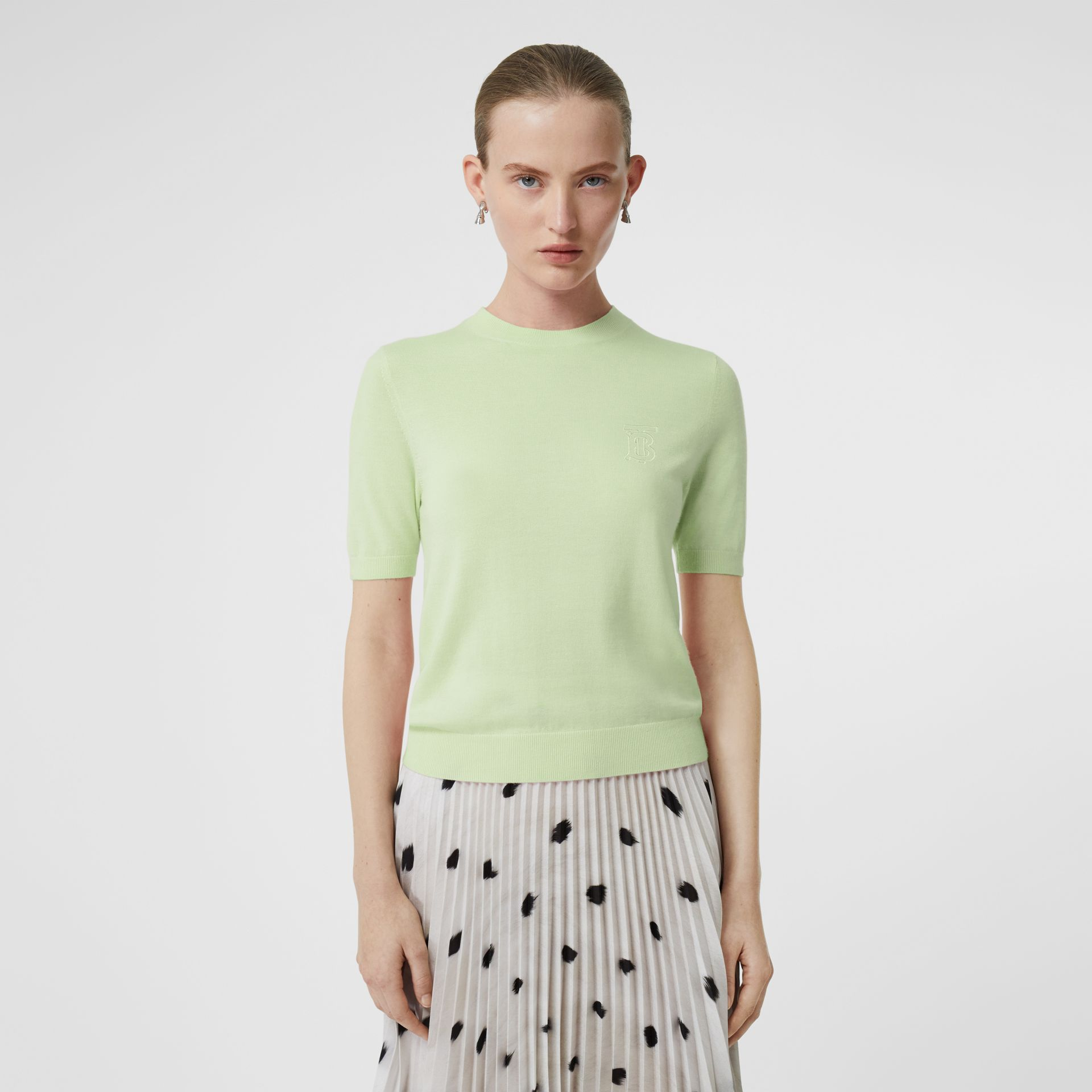 Monogram Motif Cashmere Top in Pistachio - Women | Burberry - gallery image 4