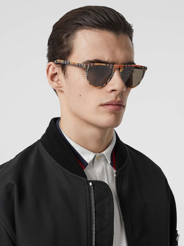 Vintage Check Keyhole D-shaped Sunglasses in Antique Yellow - Men | Burberry United Kingdom - cell image 2