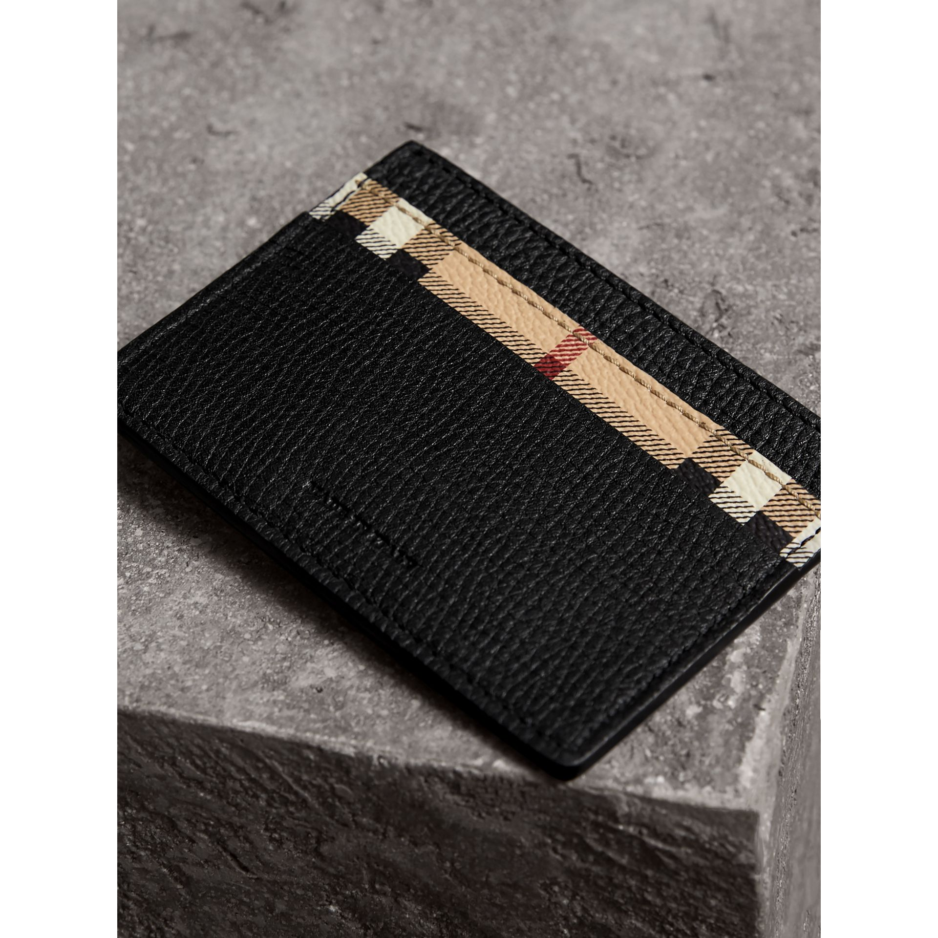 Haymarket Check and Leather Card Case in Black | Burberry - gallery image 2