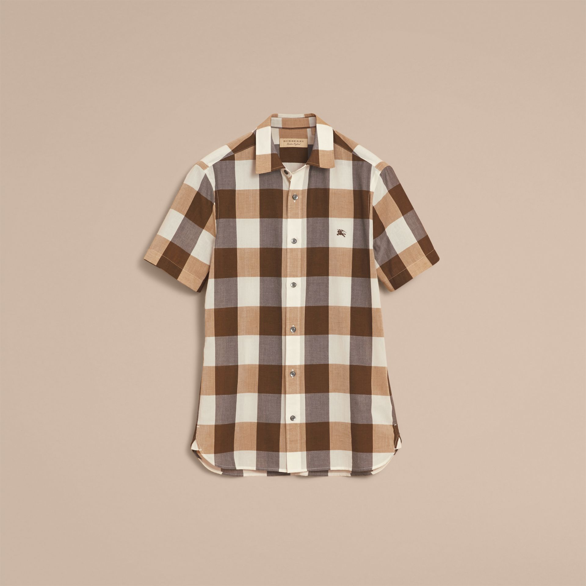 Short-sleeved Exploded Gingham Cotton Linen Shirt Camel - gallery image 4