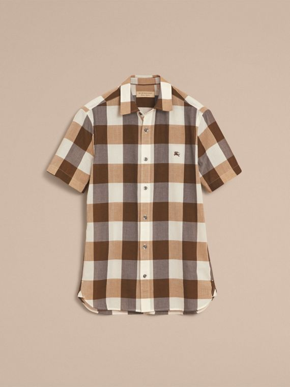 Short-sleeved Exploded Gingham Cotton Linen Shirt Camel - cell image 3
