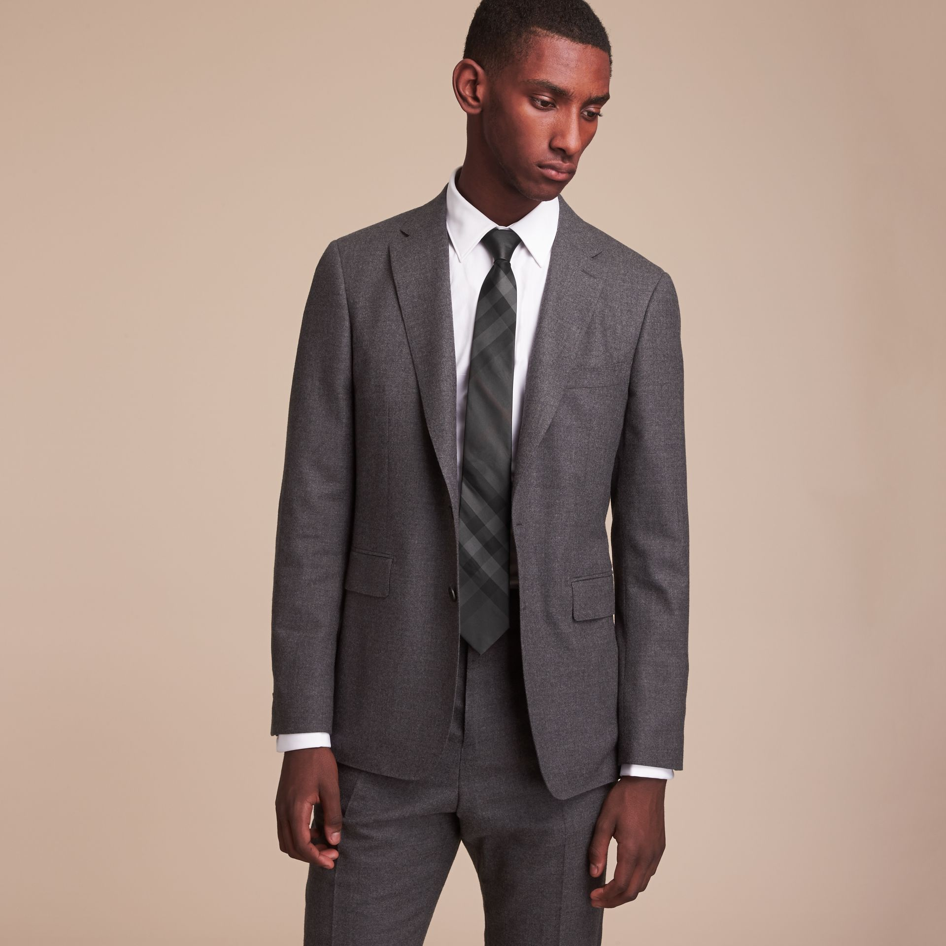 Modern Cut Check Silk Tie in Charcoal - Men | Burberry Canada - gallery image 2