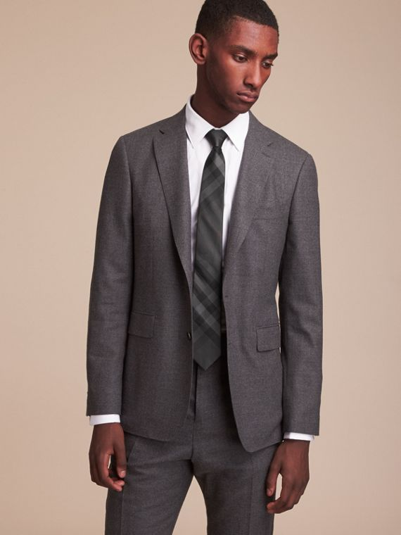 Modern Cut Check Silk Tie in Charcoal - Men | Burberry Singapore - cell image 2