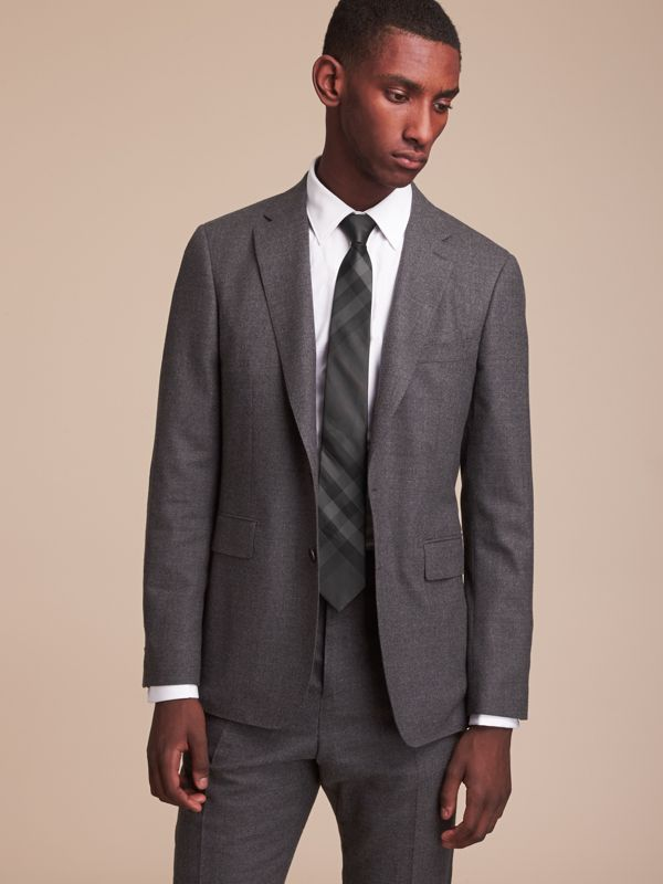 Modern Cut Check Silk Tie in Charcoal - Men | Burberry Canada - cell image 2