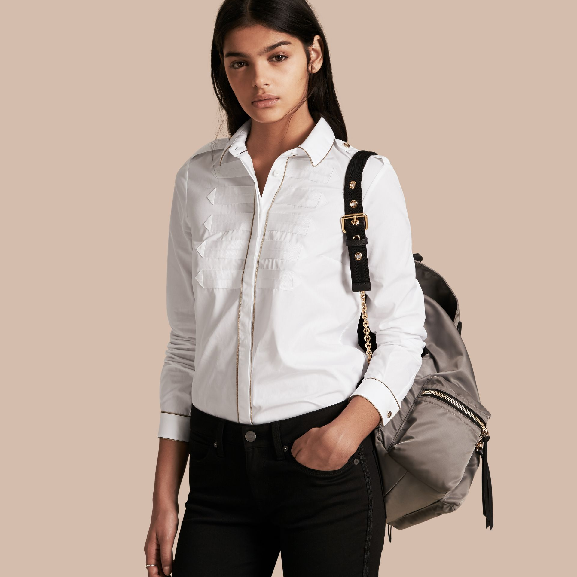 Piped Jacquard Cotton Shirt in White - gallery image 1