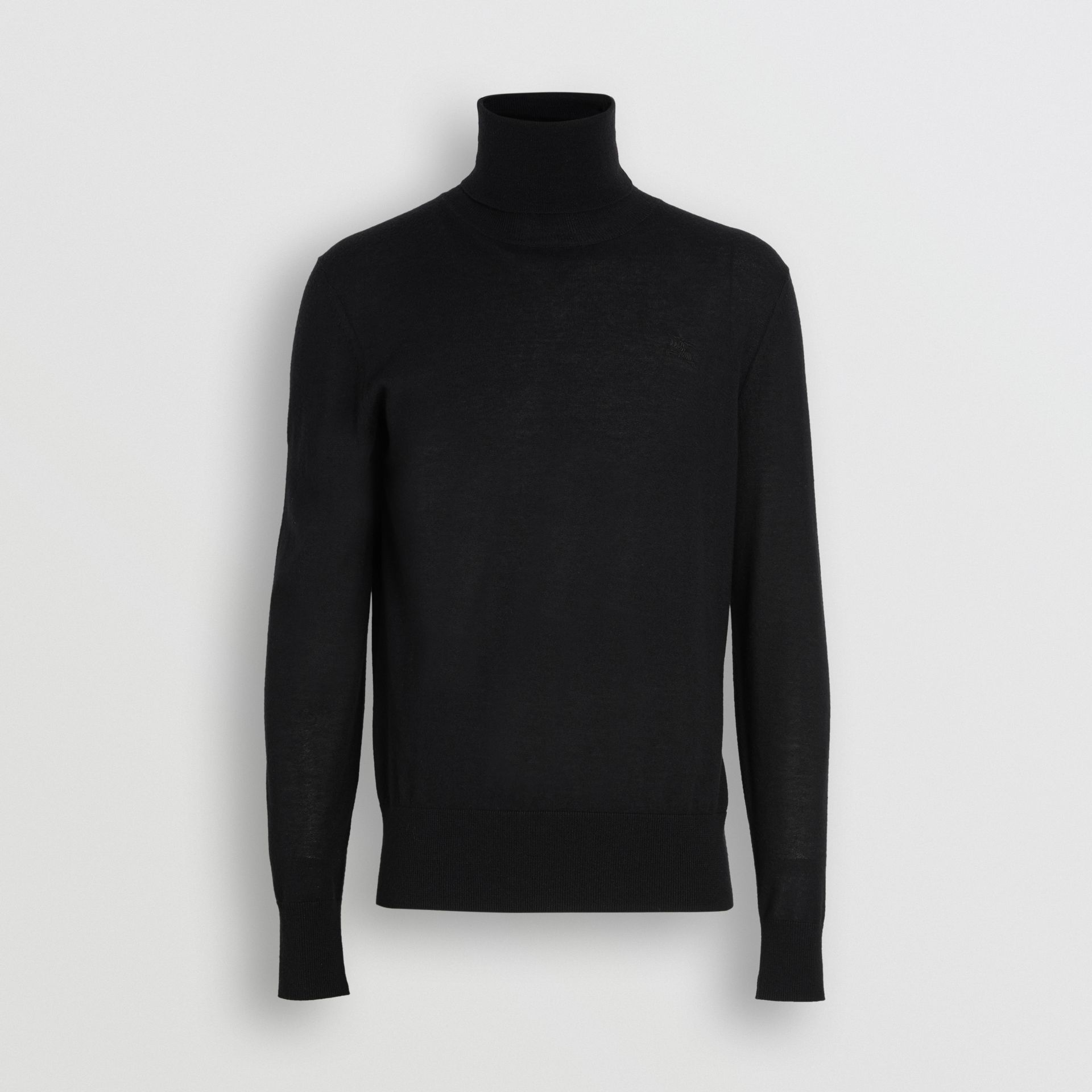 Cashmere Silk Roll-neck Sweater in Black - Men | Burberry - gallery image 3