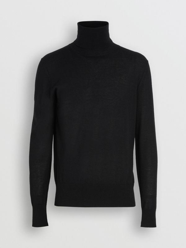 Cashmere Silk Roll-neck Sweater in Black - Men | Burberry United States - cell image 3