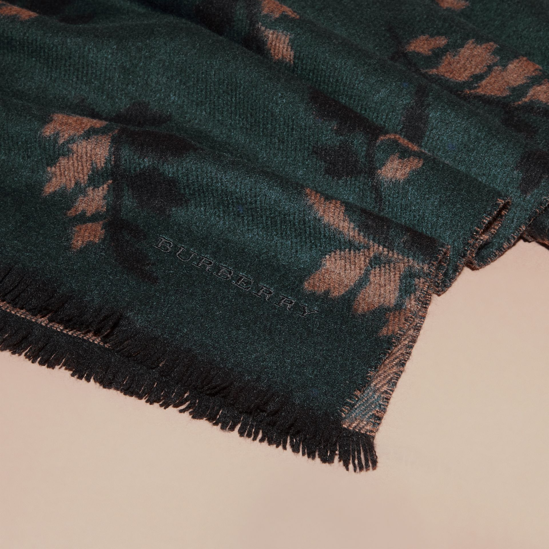 Dark teal green Leaf Jacquard Cashmere Scarf Dark Teal Green - gallery image 2