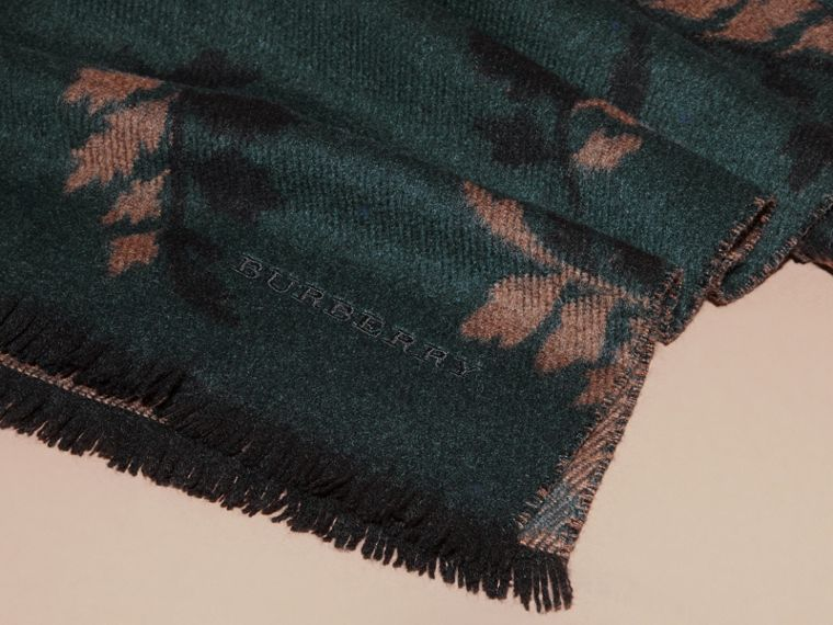 Dark teal green Leaf Jacquard Cashmere Scarf Dark Teal Green - cell image 1