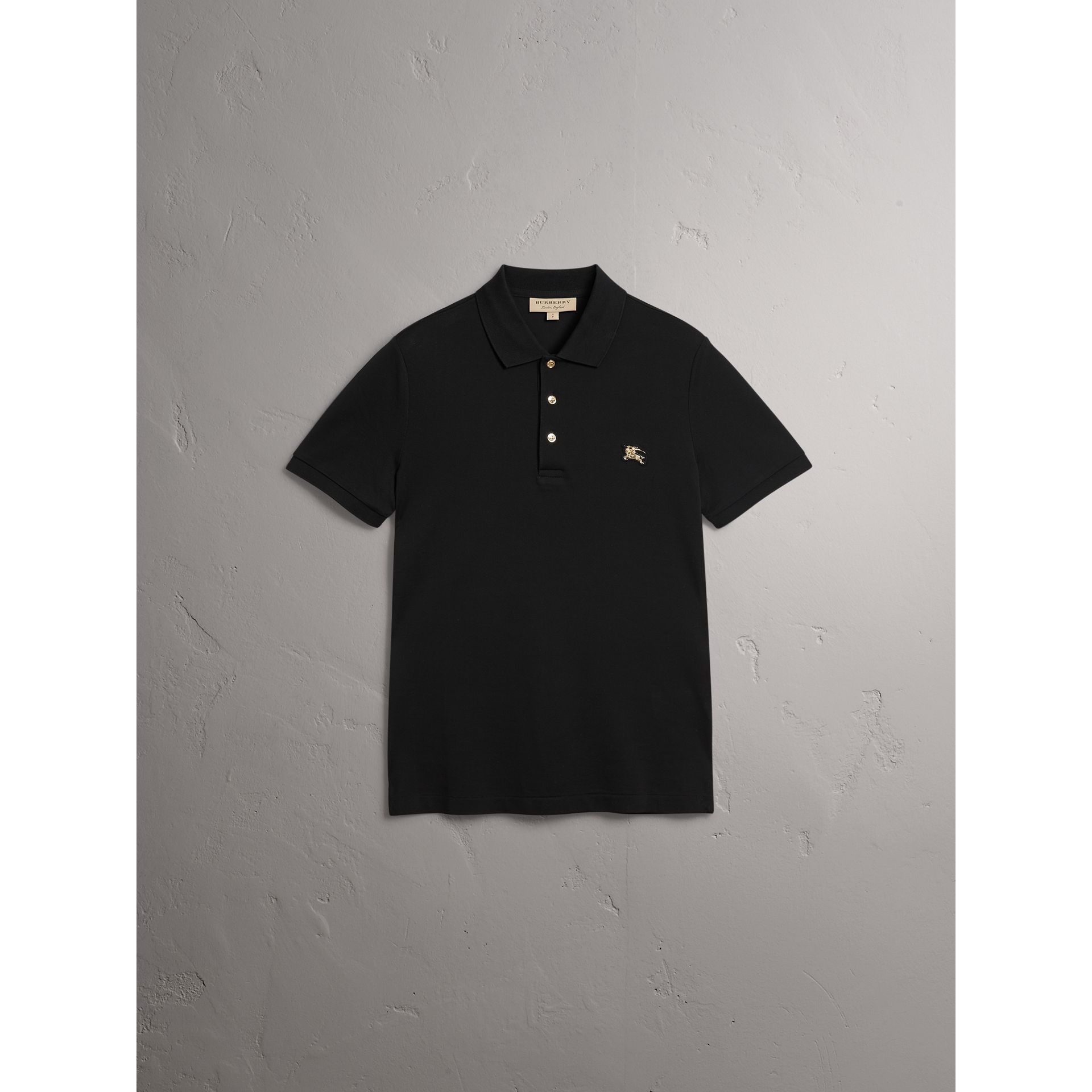 Cotton Piqué Polo Shirt in Black - Men | Burberry United States - gallery image 3