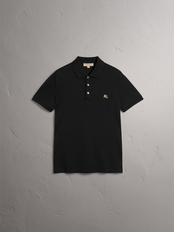 Cotton Piqué Polo Shirt in Black - Men | Burberry Singapore - cell image 3