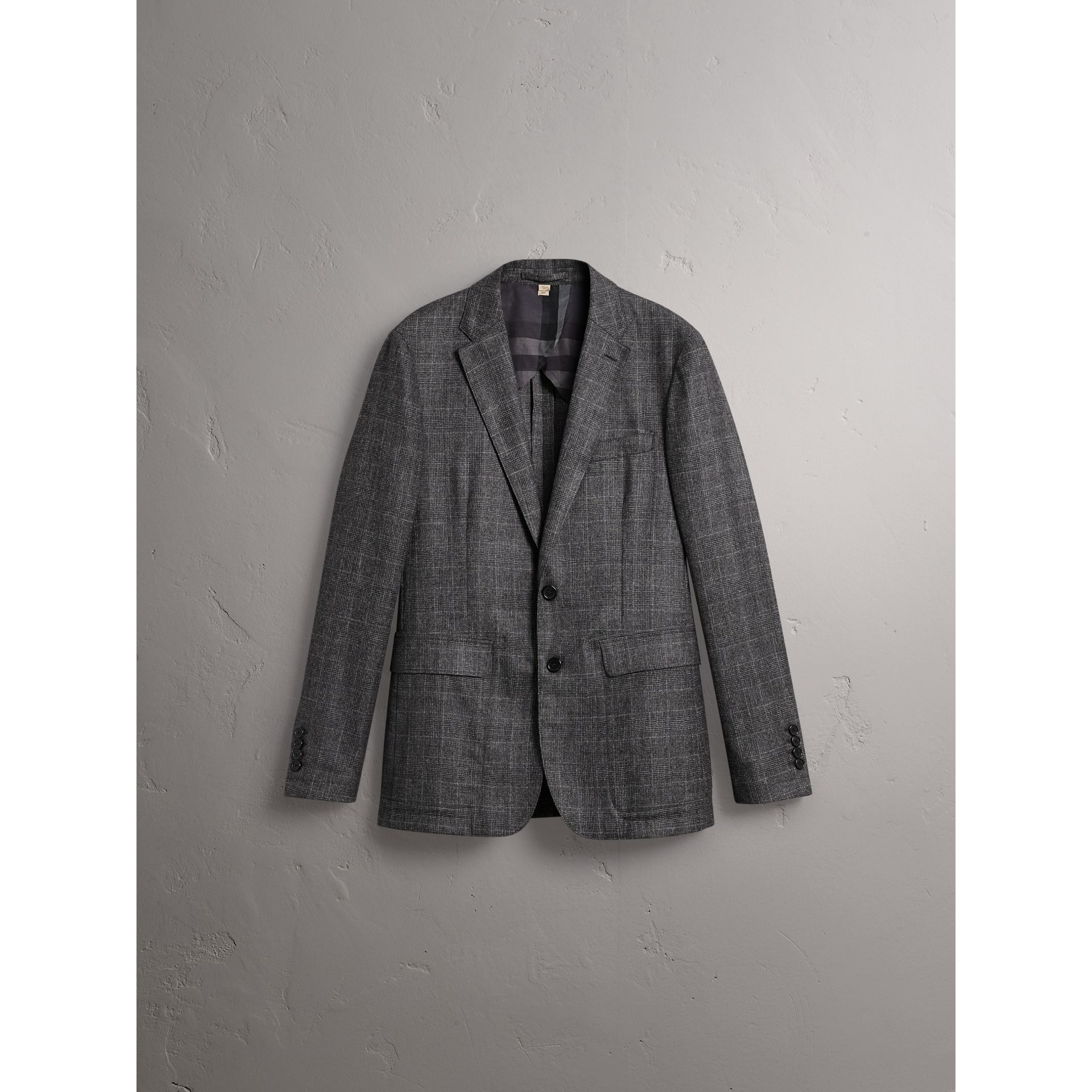 Soho Fit Check Wool Flannel Tailored Jacket in Dark Grey Melange - Men | Burberry - gallery image 4