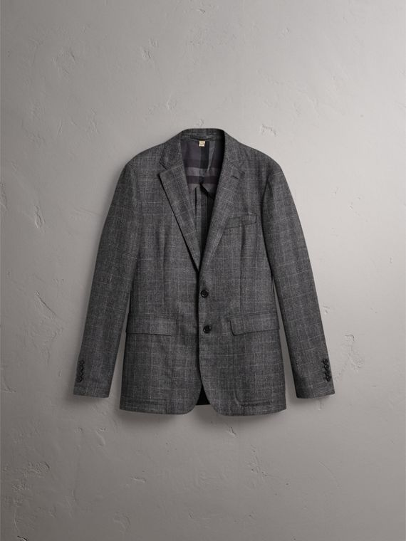 Soho Fit Check Wool Flannel Tailored Jacket in Dark Grey Melange - Men | Burberry - cell image 3