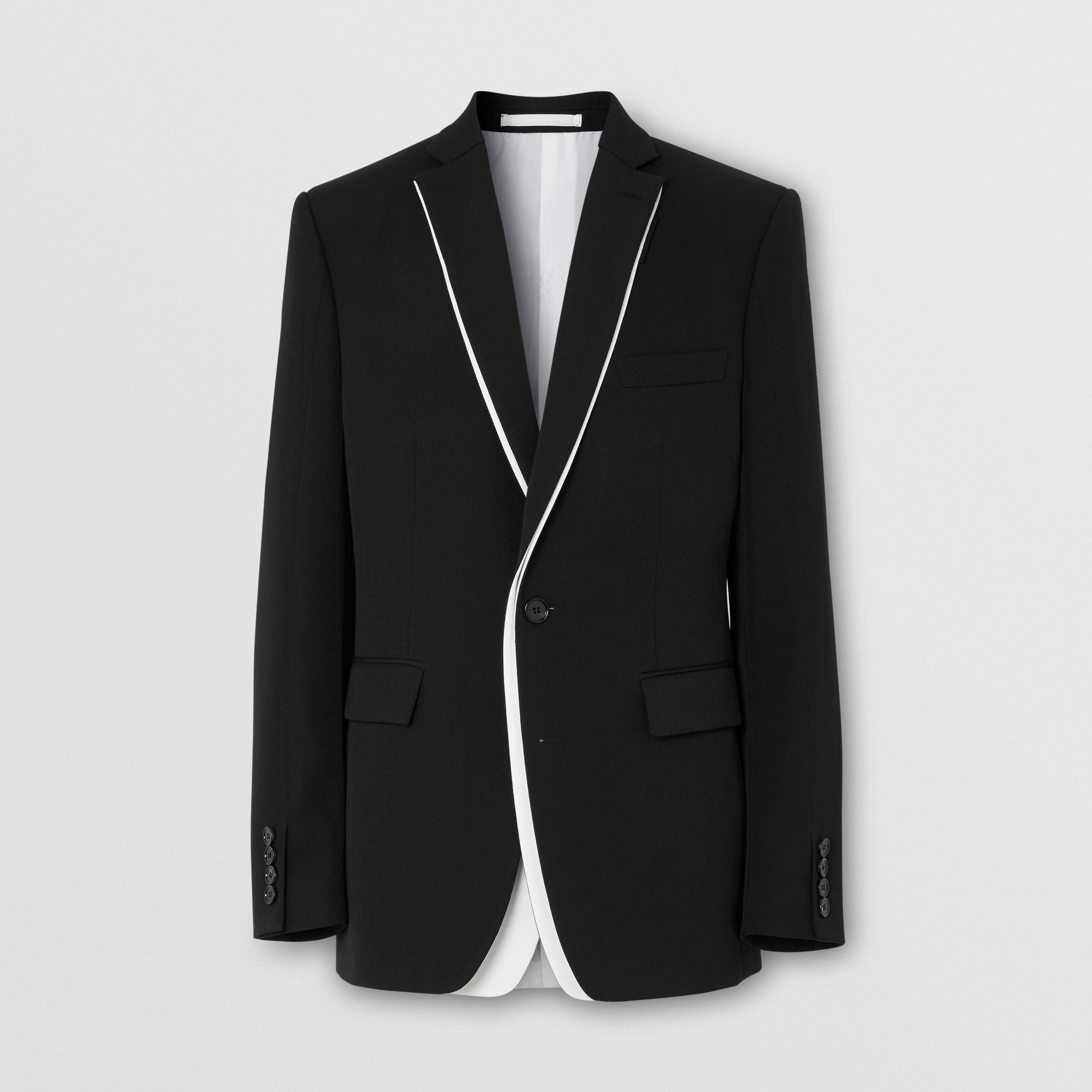 English Fit Double-front Detail Wool Tailored Jacket in Black - Men | Burberry United Kingdom - 4