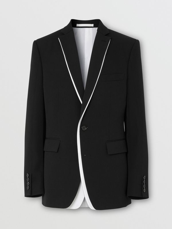 English Fit Double-front Detail Wool Tailored Jacket in Black | Burberry - cell image 3