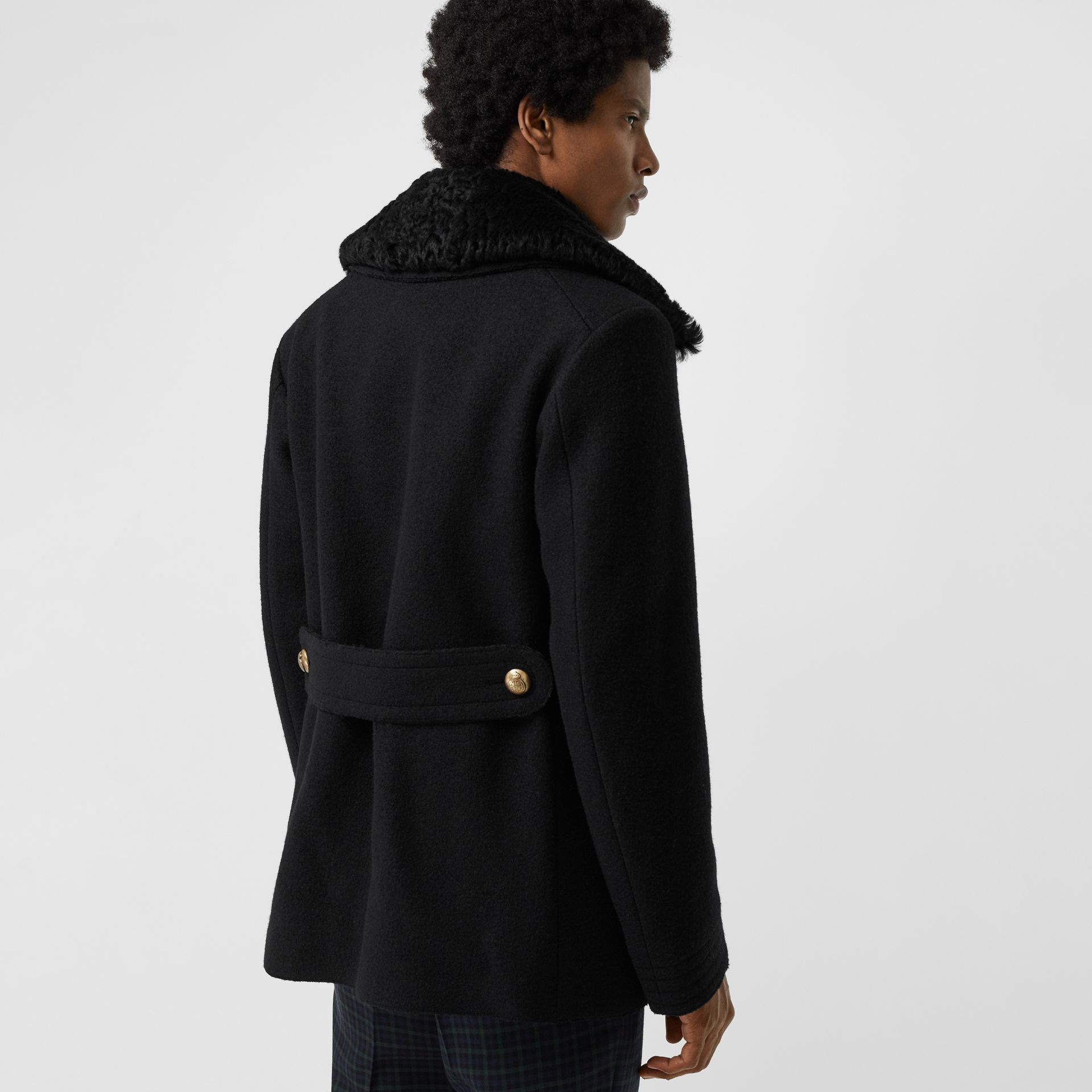 Detachable Shearling Collar Wool Pea Coat in Black - Men | Burberry - gallery image 2
