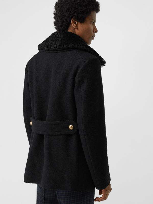 Detachable Shearling Collar Wool Pea Coat in Black - Men | Burberry - cell image 2