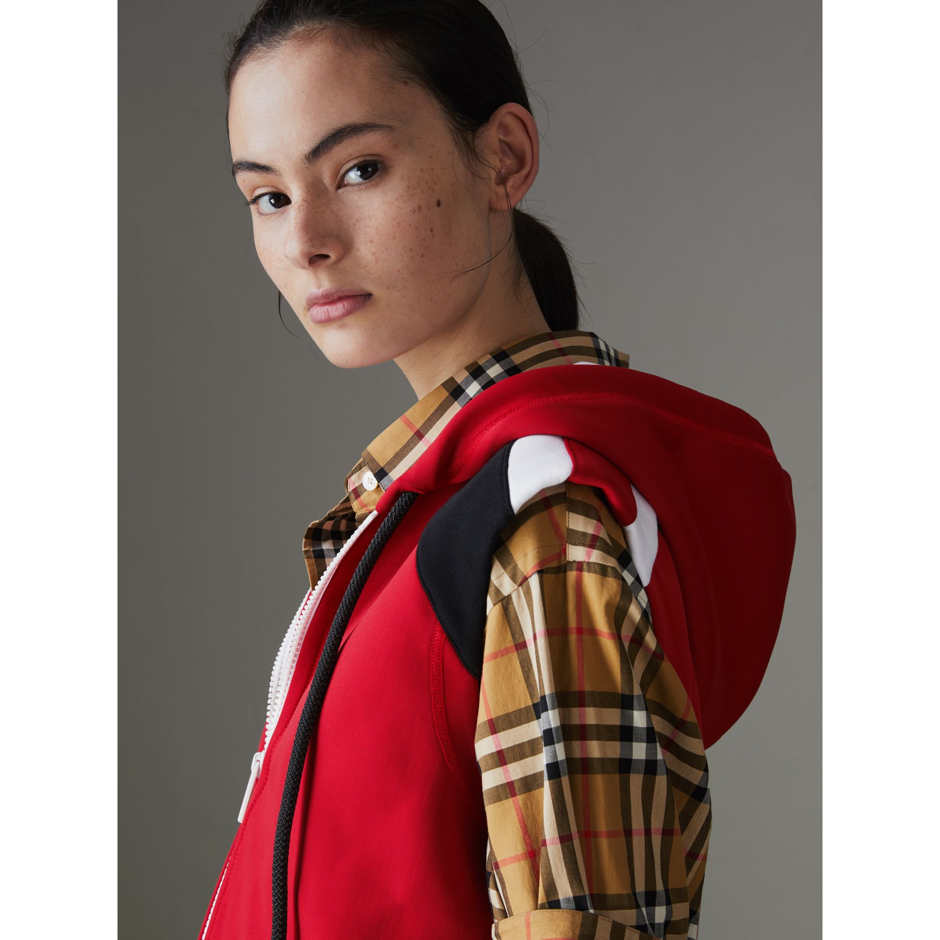 Stripe Detail Jersey Sleeveless Hoodie in Bright Poppy Red - Women | Burberry United States - gallery image 1