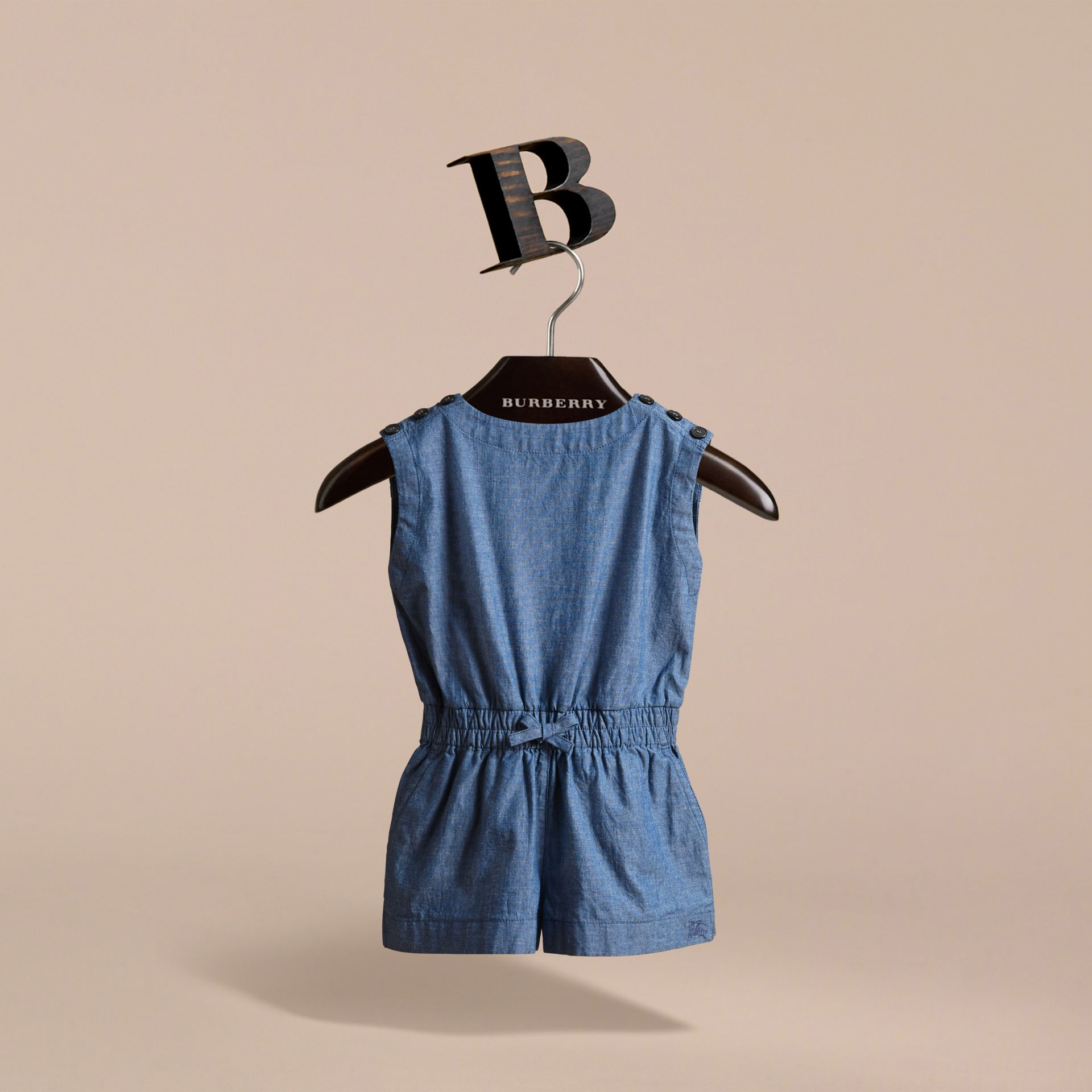 Sleeveless Cotton Chambray Playsuit - gallery image 3