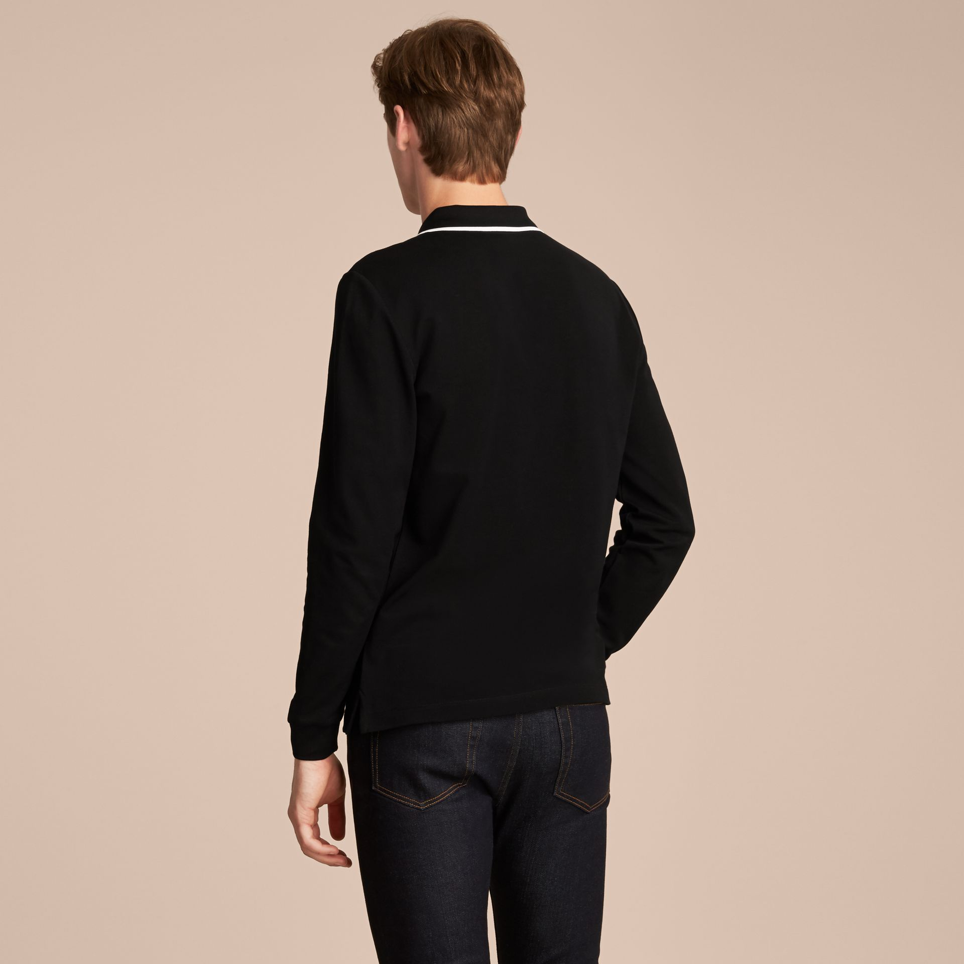 Long-sleeved Tipped Cotton Piqué Polo Shirt Black - gallery image 3