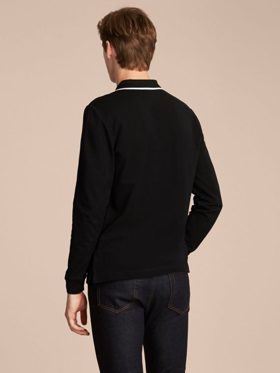Long-sleeved Tipped Cotton Piqué Polo Shirt Black - cell image 2