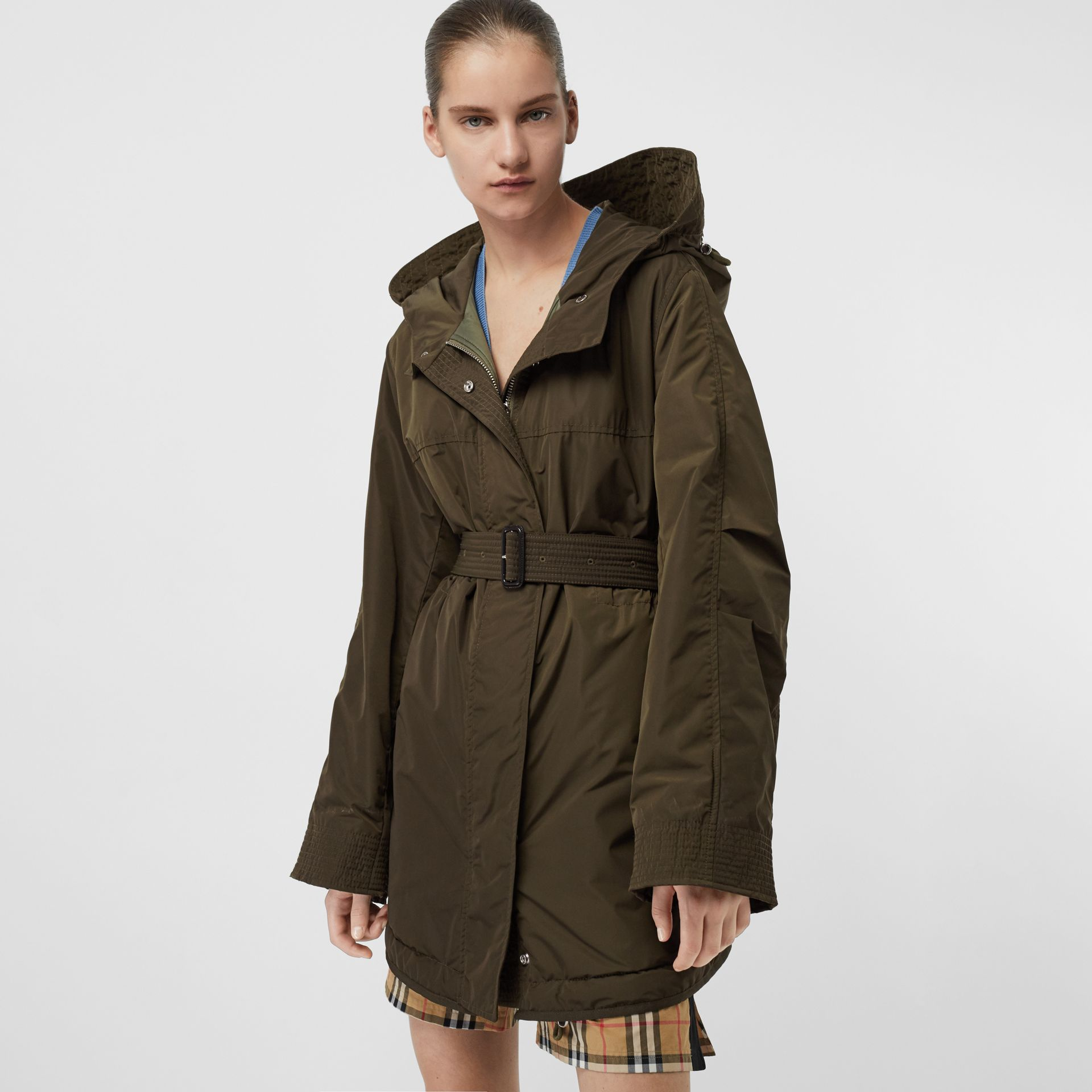 Shape-memory Taffeta Hooded Parka in Dark Olive - Women | Burberry - gallery image 5