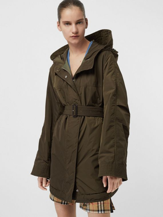 Shape-memory Taffeta Hooded Parka in Dark Olive