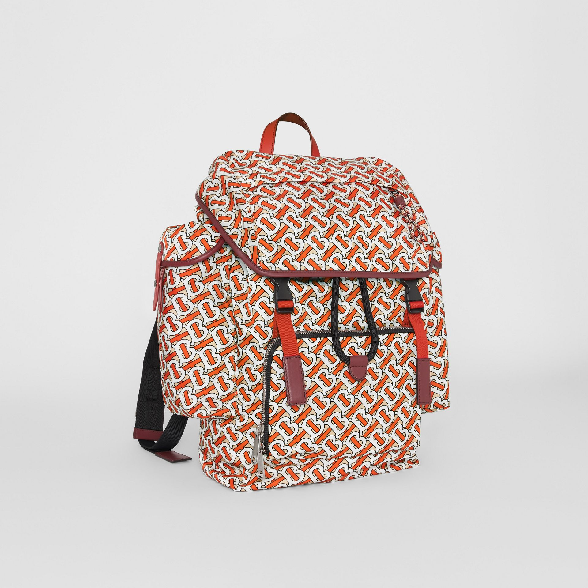 Medium Leather Trim Monogram Print Backpack in Vermilion - Men | Burberry United Kingdom - gallery image 6