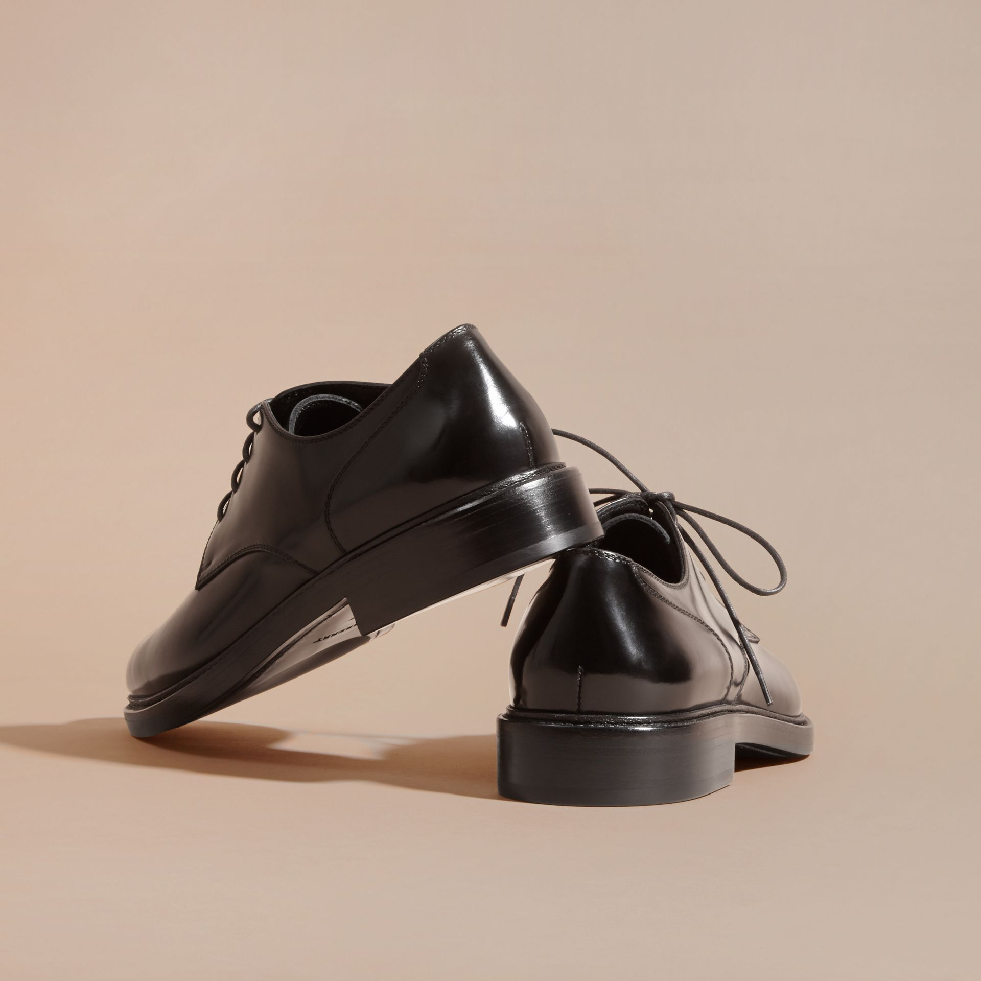 Black Leather Derby Shoes Black - gallery image 4