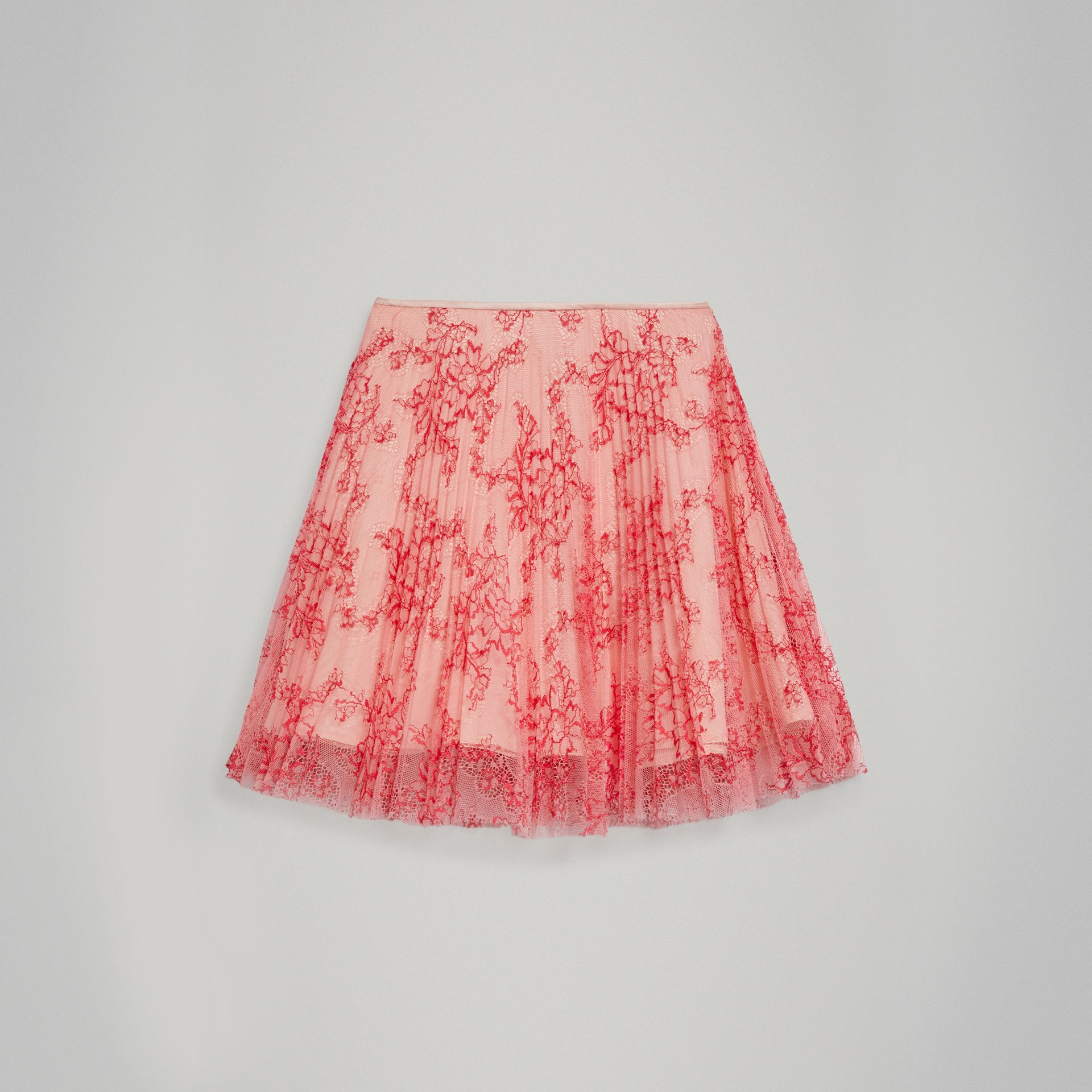 Pleated Lace Skirt in Pale Apricot/coral - Girl | Burberry - gallery image 0